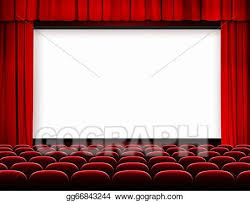stock photo cinema screen with red curtains and seats stock