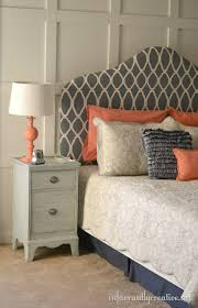 Design For Headboard Shapes Ideas Fabric Upholstered Headboard U2013painted U0026 Stenciled Coral Gray And