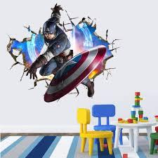 aliexpress com buy avengers 3d through wall stickers decals