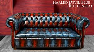Blue Leather Chesterfield Sofa Patchwork Multicolour Chesterfield Sofa Leather Cushion Seat