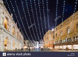 europe italy veneto vicenza christmas decorations in piazza