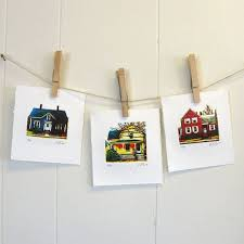 three tiny houses limited edition linocuts by erin landry fowler