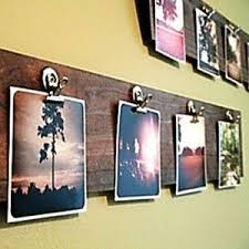 wooden board for photos but hang the board vertically