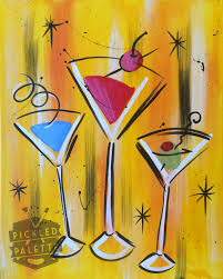 retro martini drawing canvas pickled palette