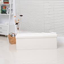 folding storage ottoman sofa foot stool bench storage box faux