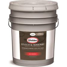 glidden 5 gal white flat interior exterior stucco and masonry