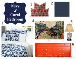 Coral Bedrooms Navy And Coral Bedroom Homes Design Inspiration