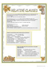 37 free esl relative clauses worksheets for elementary a1 level