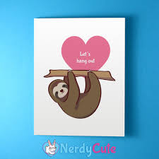 sloth valentines day card cards stationery nerdycute online store powered by storenvy