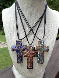 glass cross necklace images Blue glass cross necklace item 10105 jpg