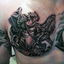 amazing black ink archangel michael tattoo on man right chest