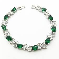 white gold bracelet bangles images 18k white gold link chain bracelets bangles emerald green jpeg