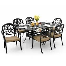7 Piece Aluminum Patio Dining Set - rosedown 7 piece cast aluminum patio dining set with 72 x 42 inch