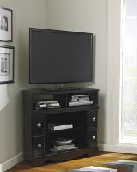 corner tv stand with fireplace option in black w271 12