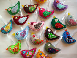 wholesale lot of 8 eco felt bird ornaments felt party favors eco
