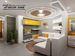 Living Room  Pop False Ceiling Design With Wooden Tray For - Living room pop ceiling designs