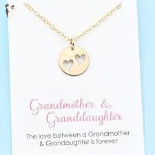 personalized granddaughter gifts grandmother granddaughter necklace two heart charm 14k gold