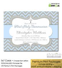 communion invitations boy communion invitation blue gray chevron