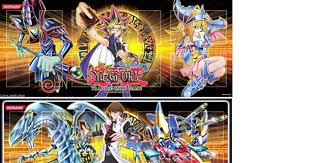 set of 4 yugioh 2 dark magician 2 blue eyes white dragon