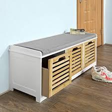 Shoe Storage Bench Sobuy Storage Bench With 3 Drawers Seat Cushion