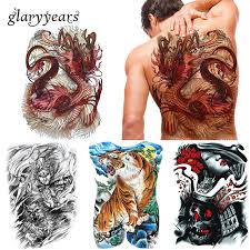 glaryyears 20 pieces lot big large full back tattoo colored