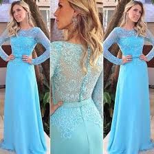 light blue long sleeve dress elegant long prom party dress light blue sheath scoop with long