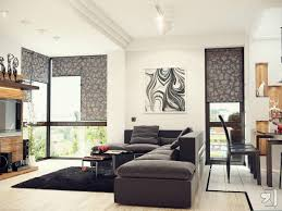 Black And White Modern Rug by Black White Modern Living Room With Grey Sofa And Black Rug