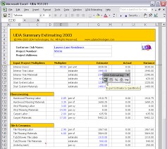 uda estimating 2003 construction estimating templates