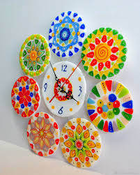 buy wall clock made of glass millefiori beads fusing on