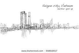 sketch cityscape saigon city ho chi stock vector 558648517