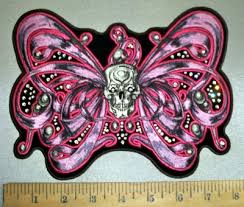 4377 g rhinestone bling ribbon winged butterfly with skull