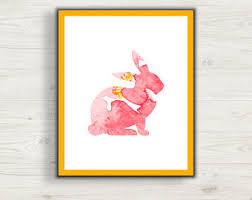 Bunny Rabbit Home Decor Watercolor Bunny Etsy