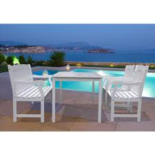 Outdoor Dining Set With Bench Vifah Bradley Acacia White 4 Piece Patio Dining Set With 32 In W