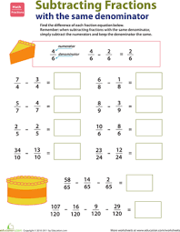 introducing fractions subtracting fractions worksheet