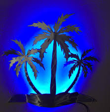 Lighthouse Cove Wall Mural Decor Place Wall Murals Palm Tree Wall Sconce Wall Light Beach House Decor Led Backlight