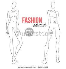 vector outline model template fashion stock vector 705951787