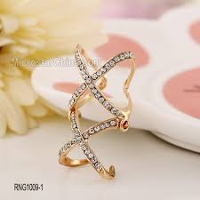 new rings images 2016 fshion hollow double cross diamond gold new simple design jpg
