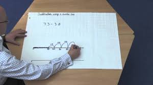 subtraction using a number line 2 digit numbers youtube