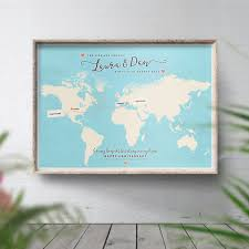 Personalised World Map Pinboard by Personalised Long Distance Map Across The Miles Long