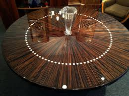 ebony table and chairs handmade custom round french modernist dining or entry hall table by