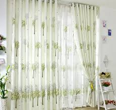 Green And White Curtains Decor Green Refreshing Green Tiny Trees Living Room Curtains