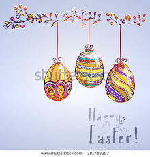 six different easter eggs ornaments stripes stock vector 360699743