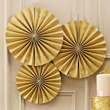 3 gold glitter pin wheel fan decorations pipii