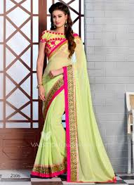 pista green color bewitching pista color pure georgette stone work sarees buy