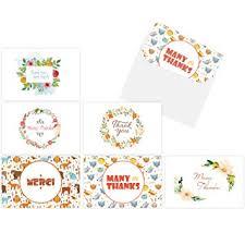 Thank You Card Designs Amazon Com Thank You Cards Ohuhu 48 Thank U Card Of 6 Designs