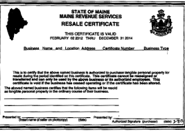 state resale certificate or sales tax exemption certificate by
