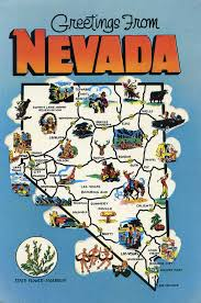 Nevada travel world images Greetings from nevada state flower sagebrush and state map jpg