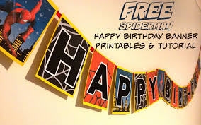 spiderman superhero happy birthday banner free