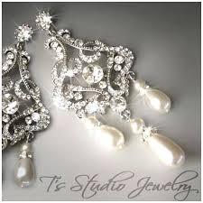 rhinestone chandelier earrings bridal chandelier earrings with pearls eimat co