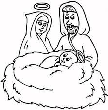 baby jesus and mary with halo over his head colouring page